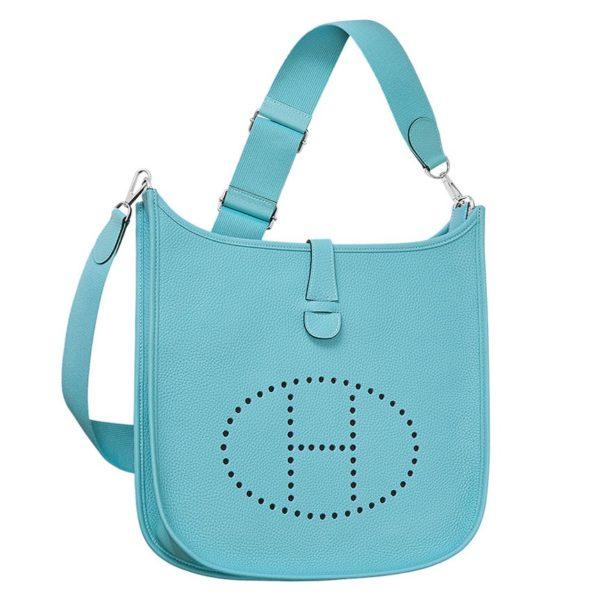 Hermes Light Blue Evelyne GM Shoulder Bag