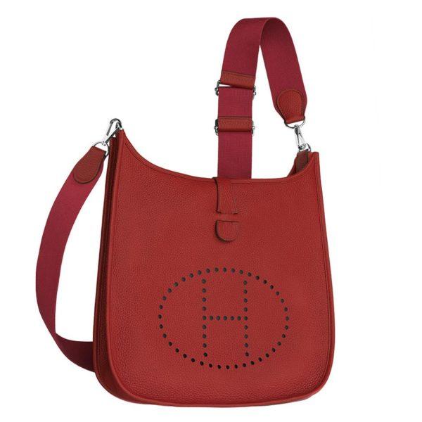 Hermes Red Evelyne PM Shoulder Bag