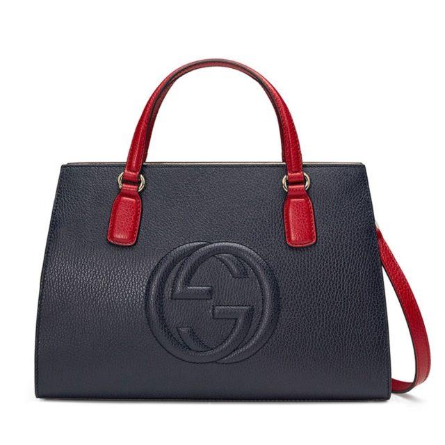 Gucci Soho Leather SatchelNavy-Red