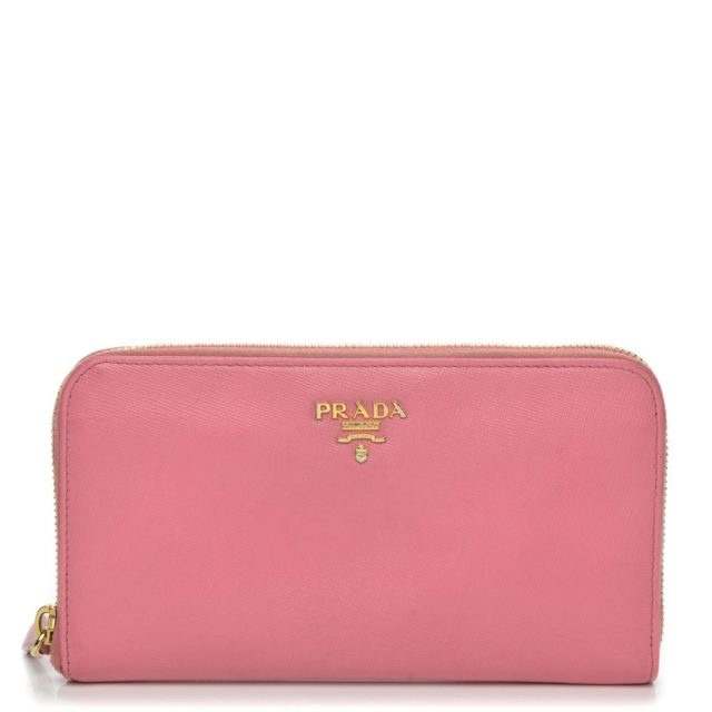 Prada Saffiano Metal Zip Around Pink Wallet