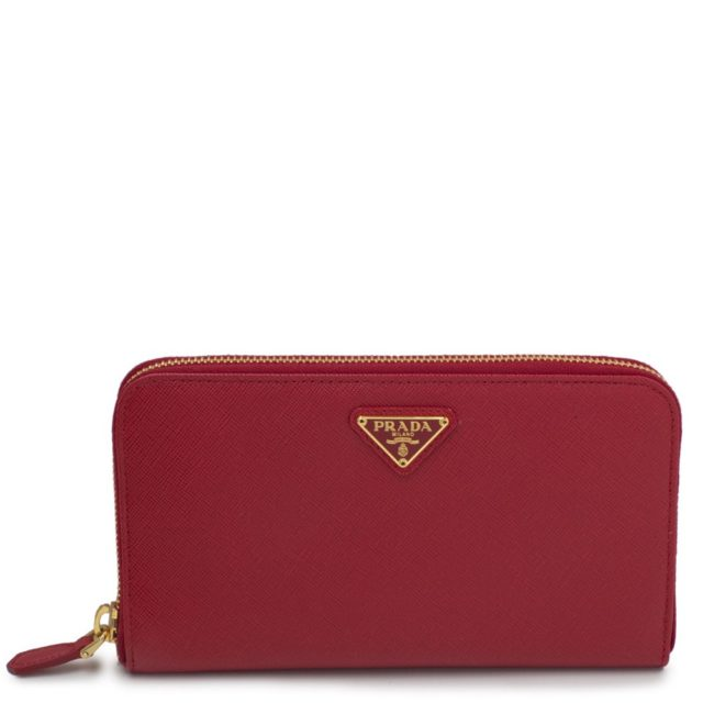 Prada Saffiano Metal Zip Around Red Wallet