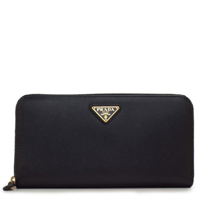 Prada Saffiano Metal Zip Around Black Wallet