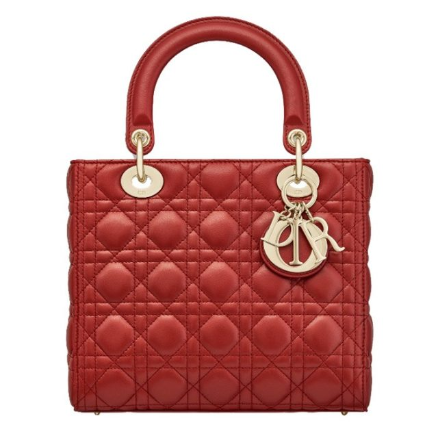 Lady Dior Red Lambskin Bag