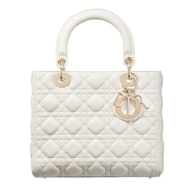 Lady Dior White Lambskin Bag