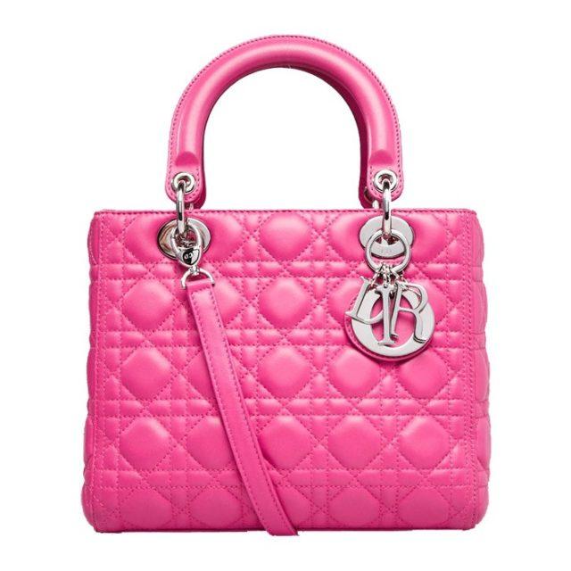 Lady Dior Fuchsia Lambskin Leather Bag