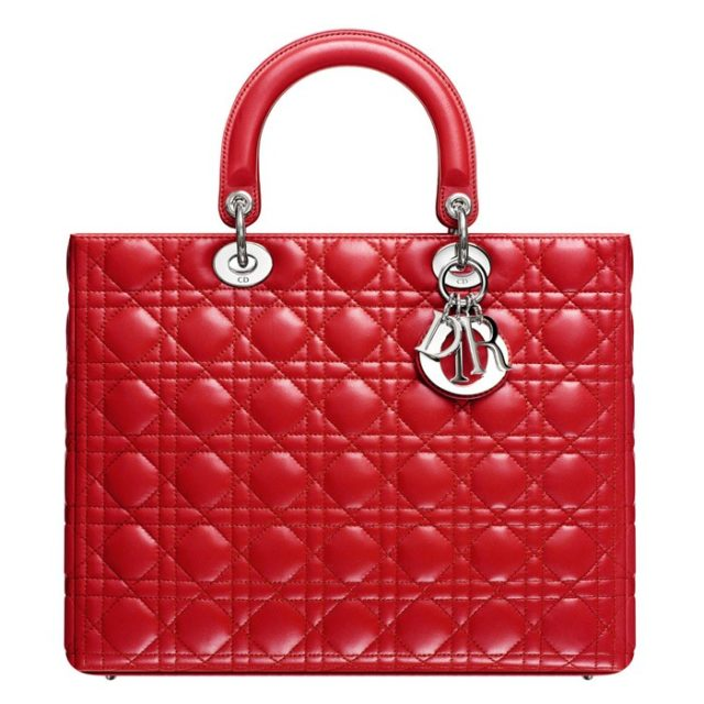 Lady Dior Large Red Lambskin Bag