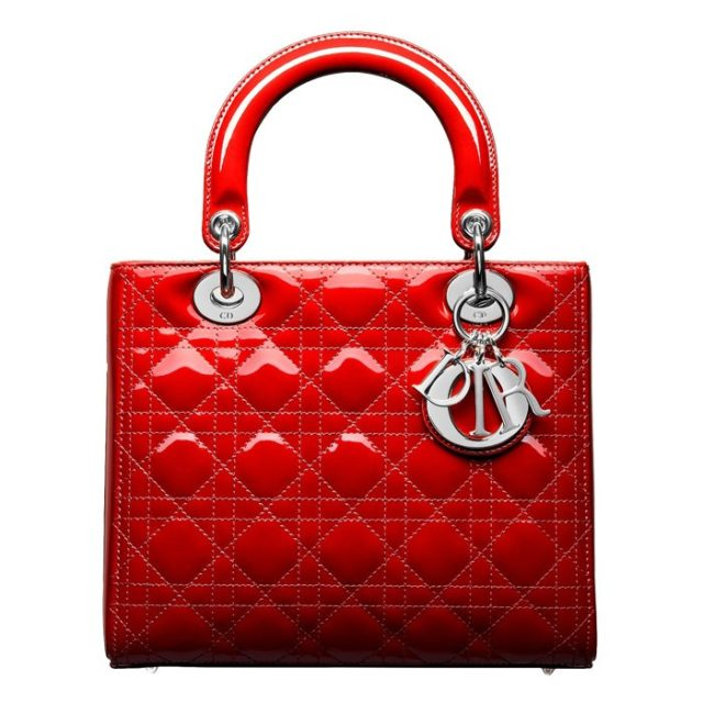 Lady Dior Red Patent Leather Bag