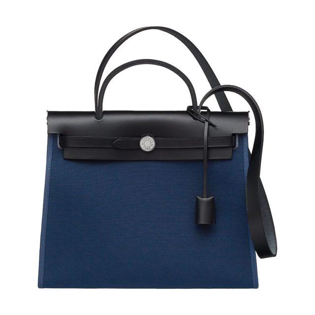 Hermes Herbag Zip 31 Blue and Black