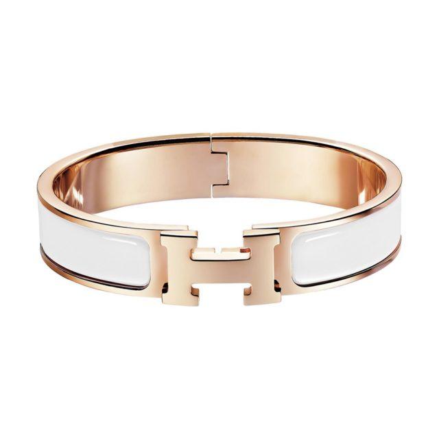 Hermes White H Bracelet