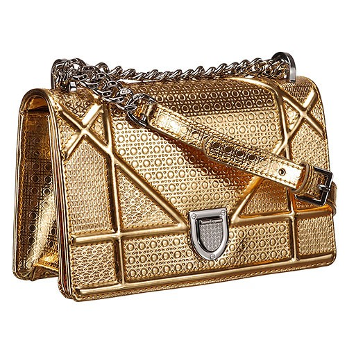 Dior Metallic Perforated Diorama Small Flap Bag Gold 18926713