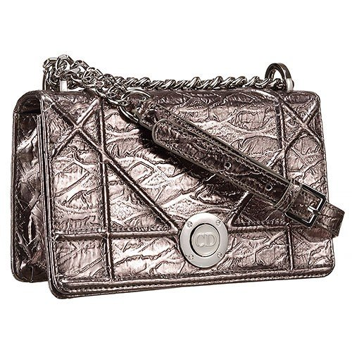 Dior Diorama Crinkled Metallic Lambskin Small Flap Bag Grey 18926723