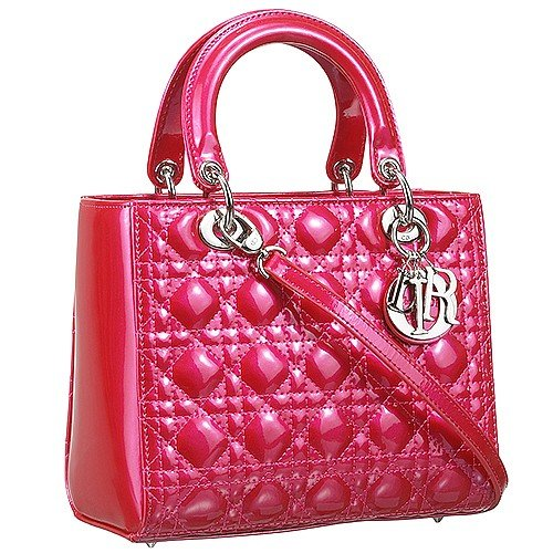 Dior Small  Lady Cannage Bag Patent Leather Fuchsia