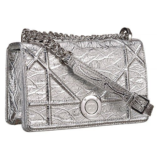 Dior Diorama Crinkled Metallic Lambskin Small Flap Bag Silver 18926726