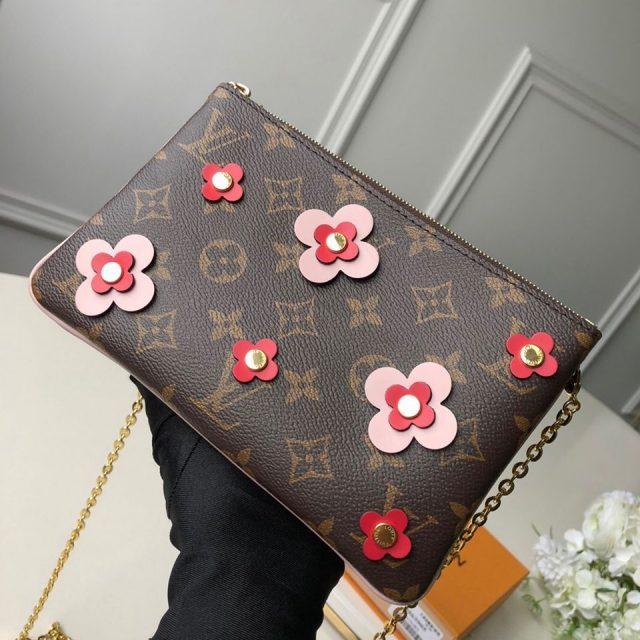 Louis Vuitton Blooming Flowers Pochette Double Zip Chain Wallet in Monogram Canvas M63905 Pink 2019 (KD-9031435 )