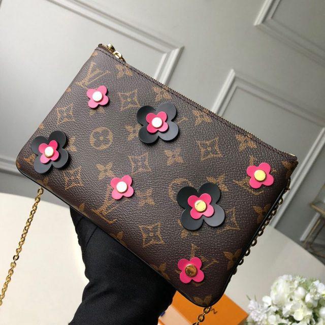 Louis Vuitton Blooming Flowers Pochette Double Zip Chain Wallet in Monogram Canvas M63905 Black 2019 (KD-9031436 )