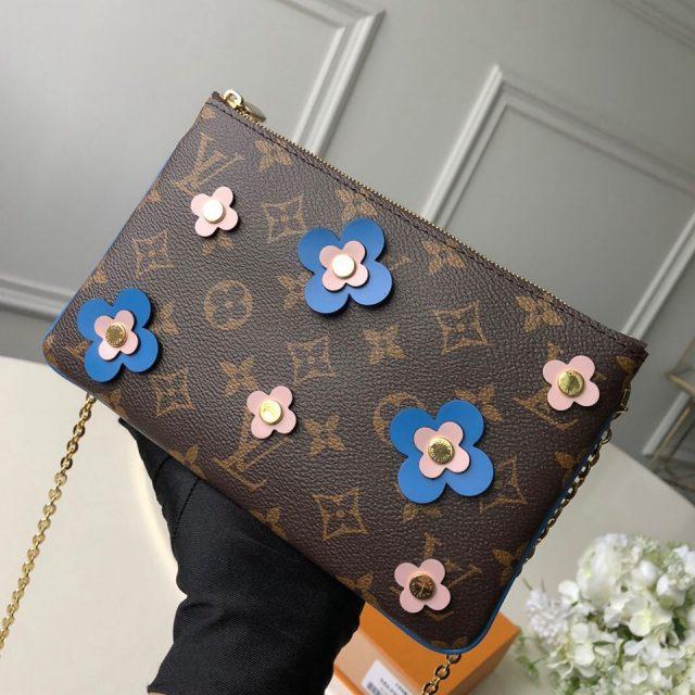 Louis Vuitton Blooming Flowers Pochette Double Zip Chain Wallet in Monogram Canvas M63905 Blue 2019 (KD-9031437 )