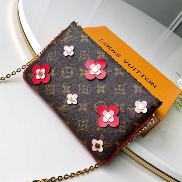 Louis Vuitton Blooming Flowers Pochette Double Zip Chain Wallet in Monogram Canvas M63905 Red 2019 (KD-9031438 )