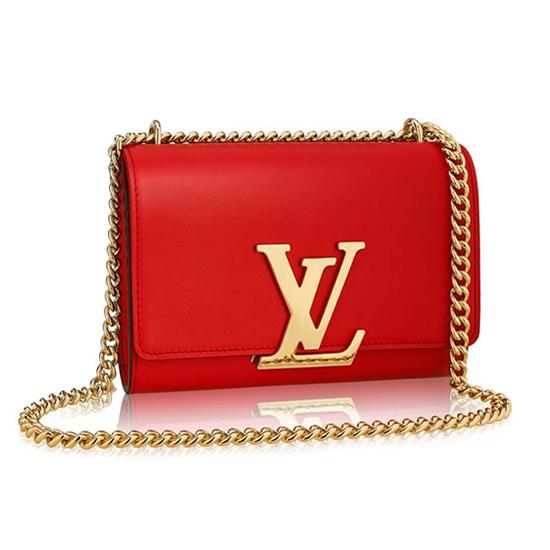 Louis Vuitton M41280 Chain Louise MM Crossbody Bag Calfskin Leather