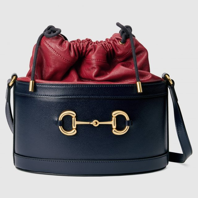 Gucci 1955 Horsebit Bucket bag Blue & Red