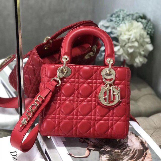 Dior Cherry Red Lady Dior Medium Lambskin Bag 2020