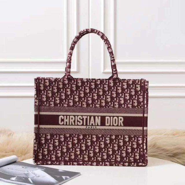 Dior Burgundy Oblique Book Tote Bag