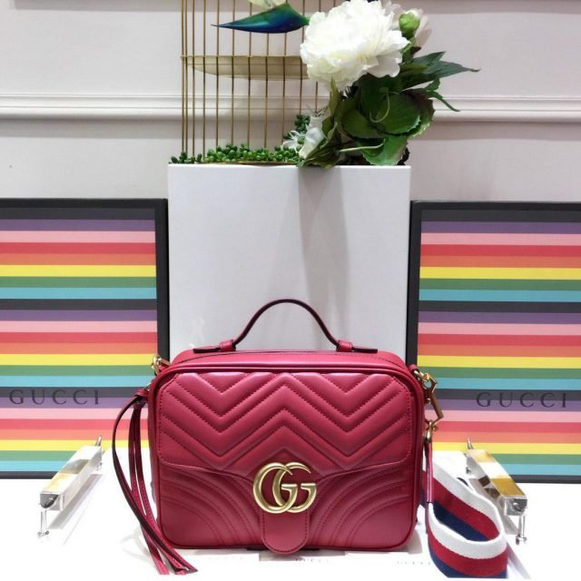 GG Marmont mini top handle bag Red