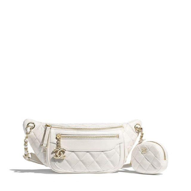 Chanel Waist Bag & Coin Purse White