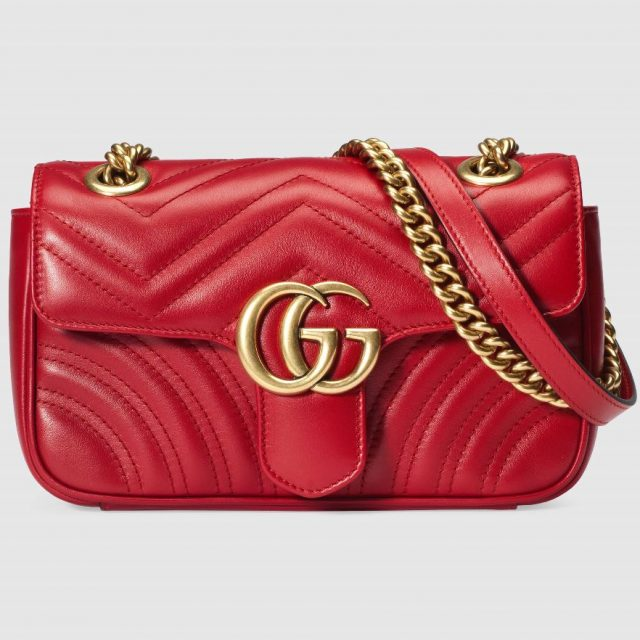Small GG Marmont chain shoulder bag Red