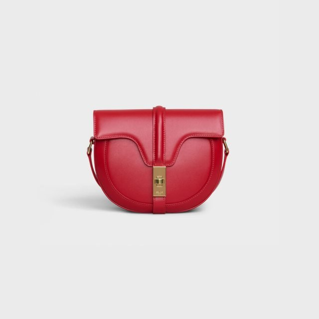 CELINE SMALL BESACE 16 BAG IN SATINATED CALFSKIN RED