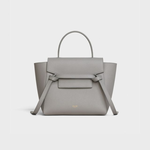 CELINE NANO BELT BAG IN GRAINED CALFSKIN GREY