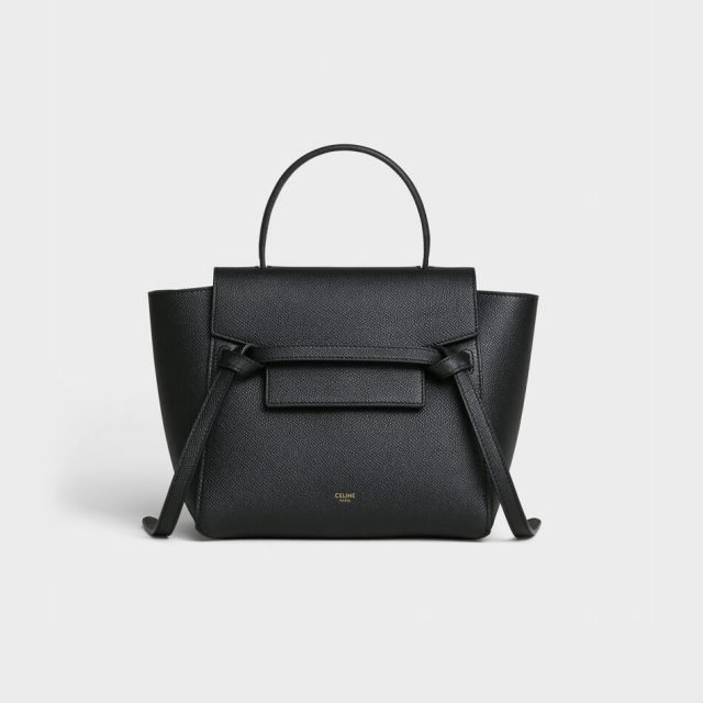 CELINE NANO BELT BAG IN GRAINED CALFSKIN BLACK