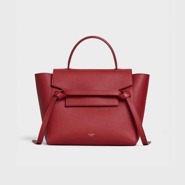 CELINE MICRO BELT BAG IN GRAINED CALFSKIN RED