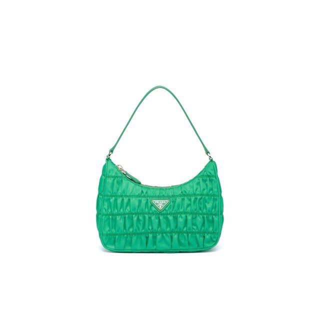 PRADA Nylon and Saffiano leather mini bag Green